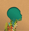 papercut woman head with colorful paper leaves vector image vector image