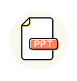 ppt file format extension color line icon vector image