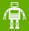 robot icon green vector image vector image