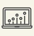 seo graph line icon chart on laptop vector image vector image