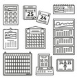 set of calendar icons vector image vector image