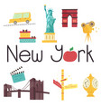set of famous new york attractions and symbols vector image