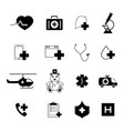 set of medical help black icons vector image