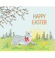spring landscape forest and easter lamb vector image vector image