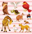 sticker set with wild animals vector image vector image