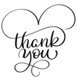 thank you text on white background hand drawn vector image vector image