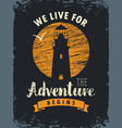 travel banner with lighthouse and inscription vector image