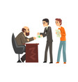 two men giving money to get permission official vector image vector image