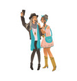 two young girls in stylish boho clothes stand vector image vector image