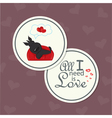 valentine card with dog on sofa vector image vector image