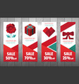 valentine polygon elements banner vector image vector image