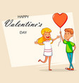 valentines day greeting card cartoon character vector image