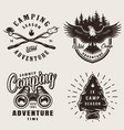 vintage camping emblems vector image vector image