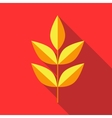 Yellow leaves on a branch icon flat style vector image vector image