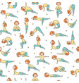 yoga seamless pattern with cartoon girl doing vector image vector image