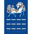 Calendar for 2014 with a horse vector image
