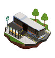 accessible bus isometric composition vector image vector image