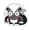 adorable cartoon skunk sitting on a white vector image vector image