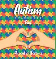 autism awareness day heart shape hand puzzle card vector image