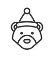 bear wearing santa hat outline icon editable vector image vector image