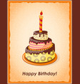 birthday card with cake tier candle and text vector image vector image