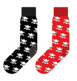 Black and Red socks with skull accessories vector image