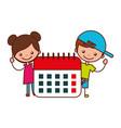 boy and girl with calendar school vector image vector image