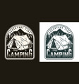 camping monochrome vintage logo vector image