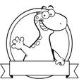 Cartoon brontosaurus dinosaur with a banner vector image