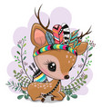 cartoon fawn with feathers on a blue background