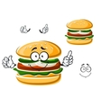Cartoon funny hamburger with vegetables vector image vector image