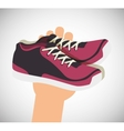 cartoon sneakers fitness sport elements design vector image vector image