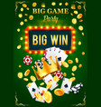 casino invitation poster for gambling game party vector image vector image