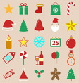 Christmas color icons on brown background vector image vector image