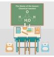 Classroom in school with desk and chalkboard vector image
