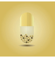 Close up of golden vertical capsule with content vector image vector image