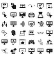 computer equipment icons set simple style vector image vector image