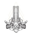 contour image of two revolvers and human heart vector image vector image