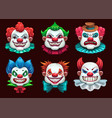 creepy clown faces set scary circus concept vector image vector image