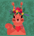 cute red squirrel in a flower wreath holds a heart vector image