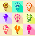 different bulbs with pictogram icons set vector image