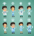 doctors with simbols set vector image vector image