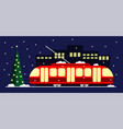 eco-friendly public transport tram red christmas vector image vector image
