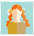 flat girl icons vector image vector image