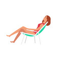 flat woman in lounger under sun icon vector image