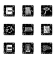 Foreign language icons set grunge style vector image vector image