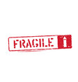 fragile isolated grunge inky box sign with arrow vector image vector image