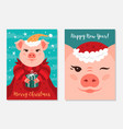 funny christmas pigs greeting cards merry vector image vector image