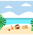 Funny kids building sand castles and playing on vector image