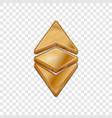 golden ethereum classic 3d style icon vector image vector image